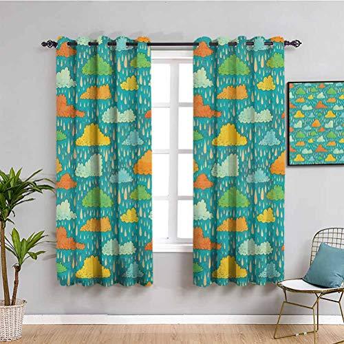 Decoracion para el hogar cortina para ninos Funk Art Figurative Sloppy Fluffy Rain Storm Nubes en el cielo sombrio clima Humor impresion sombra insonorizada Multi W108 x L84 pulgadas