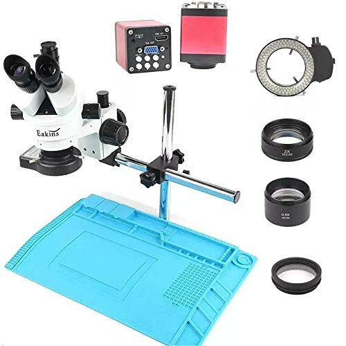 Aiyawear Compound Microscope 20MP Industry 3.5X-90X Simul-Focal Trinocular Stereo Microscope VGA HD Video Camera for Phone PCB Soldering Repair Lab (Color : Black, Size : One Size)