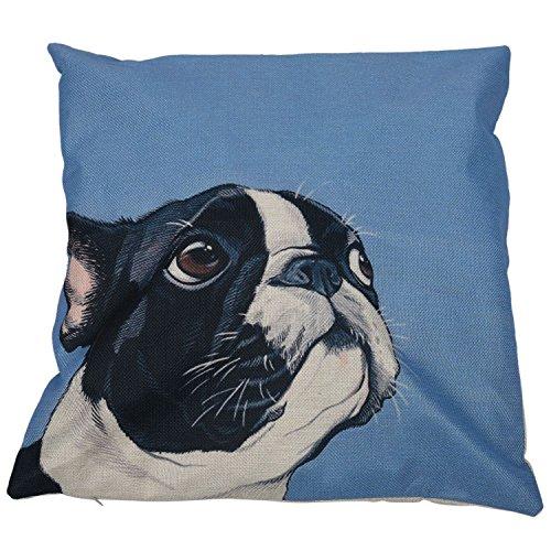 WOVELOT Personalizzato Bulldog Francese Tema Stampato Modello di Cuscini Set di Lino Cotone Federe Quadrate Sfondo Blu Cane Nero