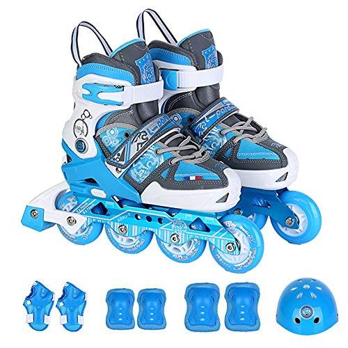 Yjdr Roller Skates, Mehrzweckrollschuhe, Kinder und Jugendliche, Freizeit, Flach Blume Dual-Use-Roller Skates, roter Anzug, Helm und Schutzausrüstung (Color : Sky Blue, Größe : S)