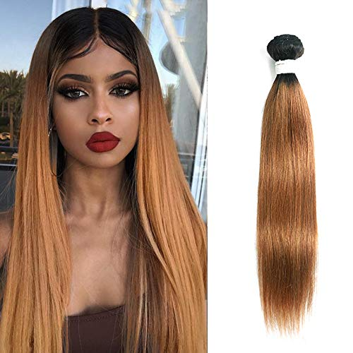 X-tress Ombre Light Brown Straight Brazilian Remy Hair Bundle Ombre Color 30 Hair Weave Human Hair Extension 100% Virgin Human Hair Weave (26 Inch)
