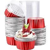Baalaa Ramekins de papel de aluminio con tapas,Revestimientos de magdalenas,Muffin Liners Tazas,Cupcake Hornear tazas titulares cajas cajas rojas