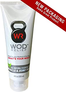 WOD Relief Muscle & Joint Rub 4oz All-Natural Essential Oil Extra-Strength Warming and Cooling Targeted Pre and Post-Workout Pain Relief Topical Cream Balm