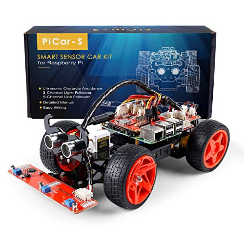 SUNFOUNDER Raspberry Pi Smart Robot Car Kit 4 Model B 3B+ 3B 2B Graphical Visual Programming Language Line Following Ultrasonic Sensor Light Following Module (Picar-S)