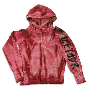 Vintage Havana - Big Girls  Long Sleeve Tie Dye Peace Tour Sweatshirt Jacket Burgundy 23194-10
