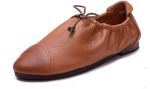 Qiusa élastique Femmes Chaussures en Cuir Plat Souple Décontracté Mary Jane (Couleuré   Marron, Taille   EU 38)