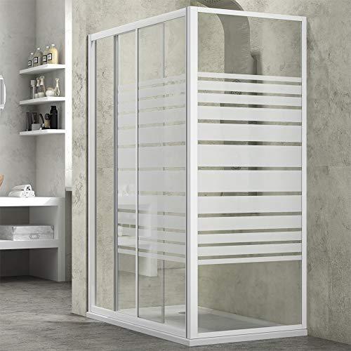 Ogomondo Cabina de ducha Slide 2 lados cristal serigrafiado 140 x 70 + plato de porcelana