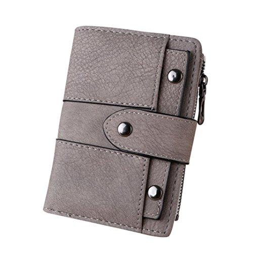 Rovinci Frauen Geldbörse Einfach Retro Nieten Kurze Brieftasche Münze Kartenhalter Handtasche (13.5cmX9.5cmX2cm, Grau B)