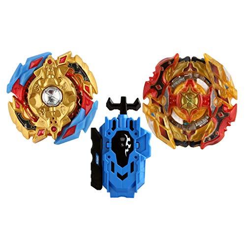 Baoblaze 2pcs Juguete de Peonza de Batalla con Lanzador Doble Dirección Lucha Maestro Fusión Metal B-8, B-128 01