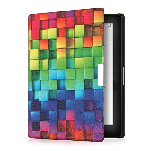 kwmobile Custodia Compatibile con Kobo Aura Edition 1 - Cover in Simil Pelle Magnetica Flip Case per eReader Multicolore/Verde/Blu/Blu