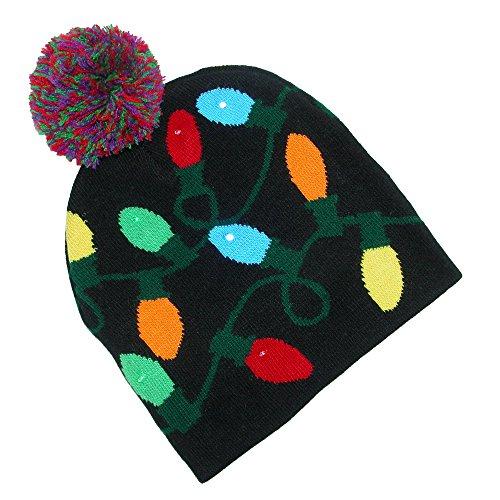 Supervisor Lotsa Lites! Flashing Holiday Knitted Hat Light Up Beanie (Black)