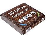 Greenbrokers Compost orgánico para macetas enriquecido con nutrientes, se expande a 10 litros NPK 20+, 10 litros de ladrillo