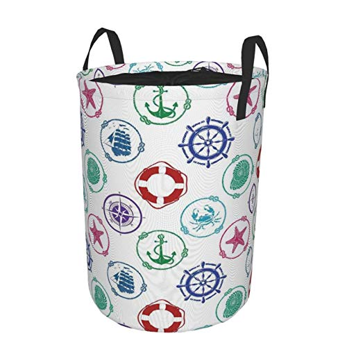 Laundry Basket Bags with HandlesMarine Pattern With Anchor Wheel Compass Lifebuoy Ship Starfish Seashell CrabWaterproof Washing Bin Foldable Dirty Hamper for Storage kids Clothes toy M