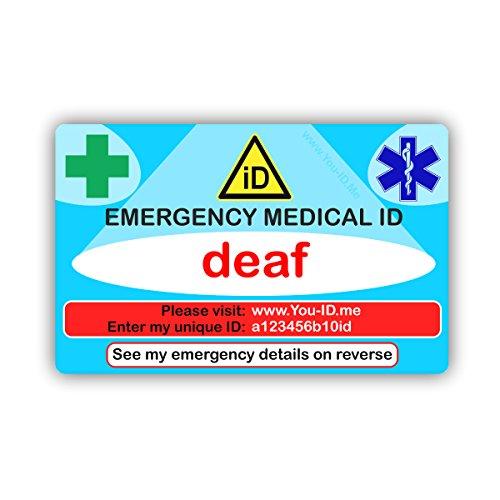 Dove Hard of Hearing Emergency Medische ID Portemonnee Identiteitskaart. Levenslange toegang tot U ID Mij. Snelle informatie aan Paramedics in geval Noodgeval van gratis SMS 90 Day Trial. 2018 Ontwerp werkt met elke smartphone