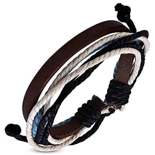 Tata Gisèle Pulsera de Piel y Cuerda para Hombre de 6 Filas – Negro, Beige, Azul y marrón – Nudo Deslizante Ajustable