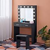 OFCASA Negro Tocador Mesa de Maquillaje con Luces LED Moderno Hollywood Espejo Tocador con 2 Cajones Tocador y Taburete para Dormitorio