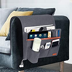 small SIMBOOM sofa armrest organizer, 5 pockets, magazines, books, bedside table holder for TV …