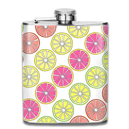 FGRYGF Pocket Container, Tropical Fruit Orange Lemon Lime Grapefruit Slices 7 Oz Printed Stainless Steel Hip Flask E.g. Whiskey, Rum, Scotch, Vodka Rust Great Gift