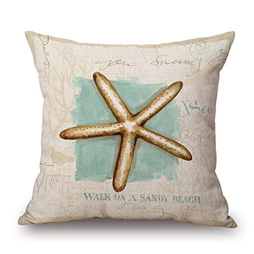 Happy Cool Cotton Linen Square Mediterranean Sea Decorative Throw Pillow Cushion Cover 18'x 18' Starfish