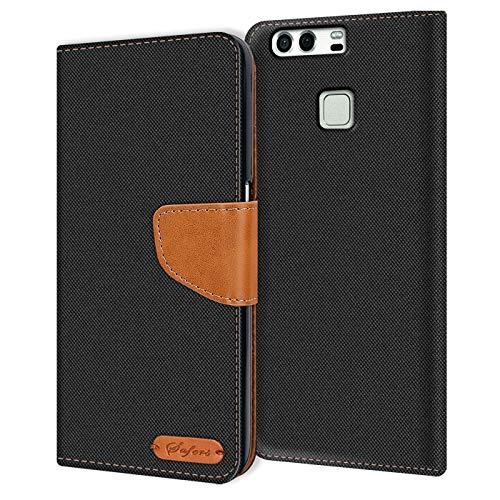 Verco P9 Hülle, Schutzhülle für Huawei P9 Tasche Denim Textil Book Hülle Flip Hülle - Klapphülle Schwarz