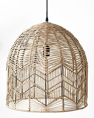 Kenay Home Lámpara de Techo, Ratán/Negro