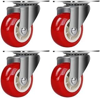 Svnaokr 4 stuks wielen voor meubels + schroeven, 1,25-inch / 32 mm transportwielenset (4 x zwenkwielen, rood)