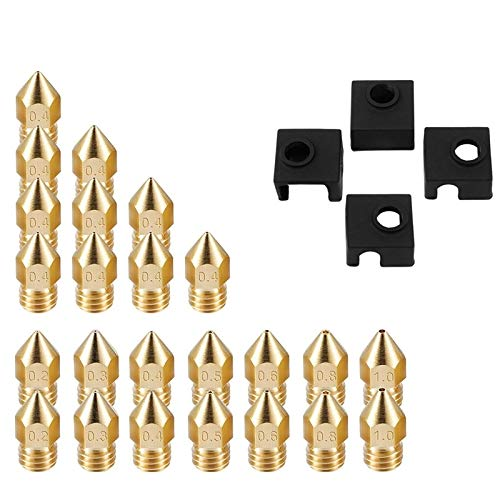 Xinqiankeji 2 Set 3D Printer Supplement 1 Set Extruder Nozzles 7 Different Sizing 1 Set Block Silicone Sleeve Box Gold 23 x 23 x 1m