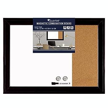 Quartet Combination Magnetic Whiteboard & Corkboard 17  x 23  Combo White Board & Cork Board Home Décor Black Frame  79283