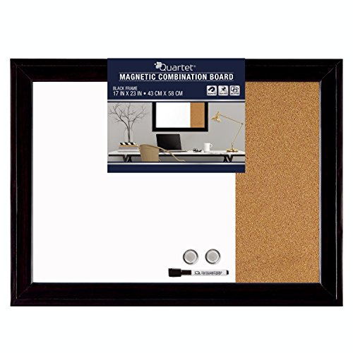 Quartet Combination Magnetic Whiteboard & Corkboard, 17' x 23', Combo White Board & Cork Board, Home Décor, Black Frame (79283)