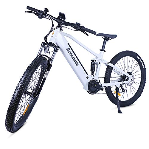 Accolmile Electric Bike Adult Electric Mountain Bike 27.5 inch, BAFANG 48V 750W Mid Motor with 12.8Ah Removable Lithium Battery, Dual Disc Brake System Full Suspension Shimano 9 Speed with LCD Display