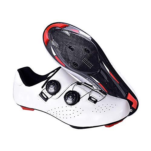 JMAR Zapatos De Ciclismo para Hombres-Zapatillas De Ciclismo De Carretera, Bicicleta de Carretera de Fibra De Carbono Liviana con Hebilla De Doble Perilla, Zapatos De Bloqueo Resistentes Al Desgaste