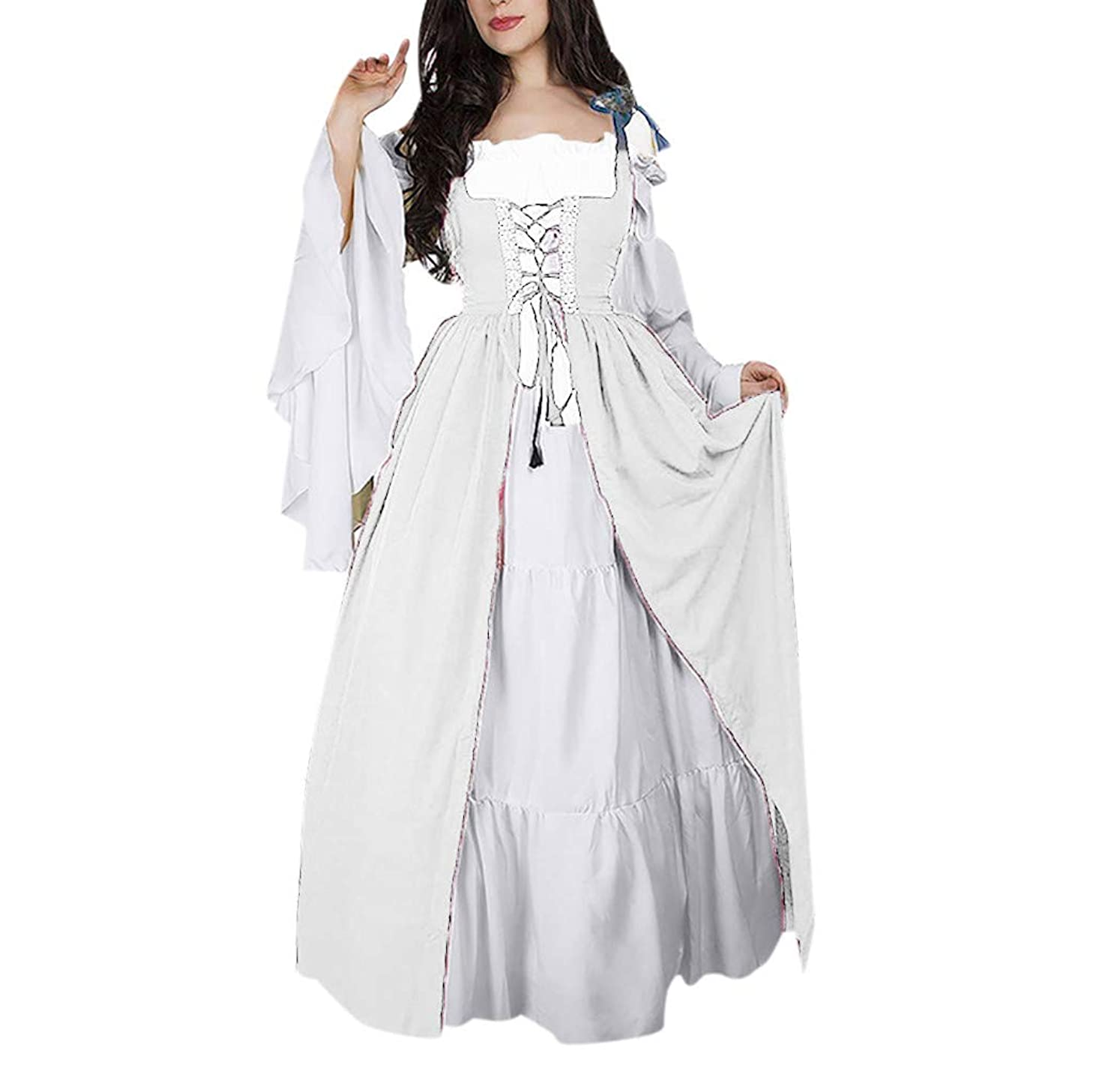 ?QueenBB? Women's Floral Lace Up Vintage Dress Plus Size Trappy Corset Dress Gothic Halloween Clubwear Lace Skirt