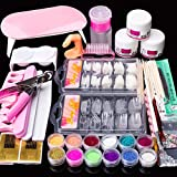 Acrylic Nail Kit Set, Acrylic powder Shiny Glitter Nail Art Decoration Professional DIY Gel Nail Kit Manicure Set with Nail Dryers