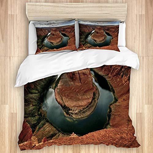 VAMIX Bedding Juego de Funda de Edredón,Curva de Herradura, Río Colorado, Arizona,Microfibra Funda de Nórdico y Fundas de Almohada-(Cama 240 x 260cm)