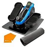 LifePro FlexStride Plus Blue Under Desk Elliptical Trainer for Home & Office - Calf Leg Foot Pedal Exerciser - Seated Compact Elliptical Bike Machine - Exercise Equipment w/Adjustable Resistance