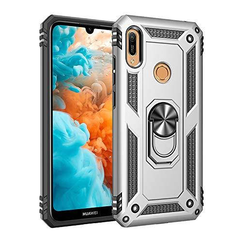 VGANA Hülle Kompatibel für Huawei Y6S 2019, Robuste Rüstung Anti Fall & Magnet Ring Faltbarer Halter Funktion Schutzhülle. Silber