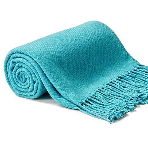 VEEYOO Manta suave para sofá – mantas y mantas ligeras y acogedoras con borla, 127 x 158 cm de punto turquesa mantas para sofá cama, viajes, oficina