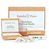 Sinutan® | Cotton Fioc Bamboo | Bastoncini Biodegradabili 100% | Cotton Fioc in Bambù e Cotone | Eco Friendly e Zero Waste | Plastic Free e Compostabili | 4 Scatole | Regali Ecosostenibili