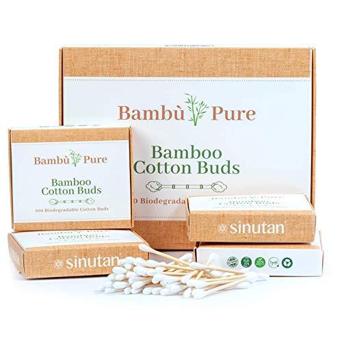 Bambus Wattestäbchen   100% Plastikfrei   Biologisch Abbaubar   Vegan und Nachhaltig   Reines Naturprodukt   Wattestäbchen aus Bambus & Baumwolle   Sinutan