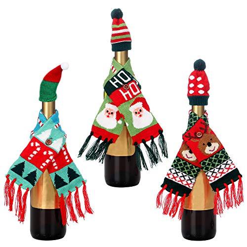 Copri bottiglia cappello sciarpa natalizia,3 pezzi mini copricapo vino natalizio 3 pezzi mini sciarpa natalizia bottiglia per porta posate natalizie, copri caramelle,decorazioni per bottiglie di vino