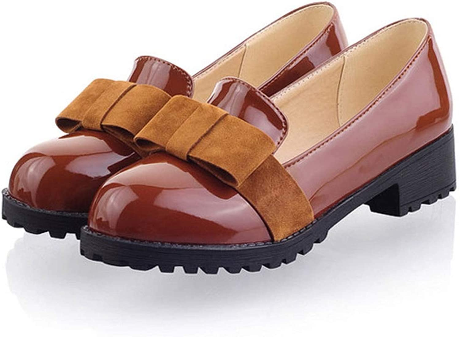 DoraTasia Women's Slip On Patent Leather Bowtie Loafers College Style Girls Casual Mocassin shoes