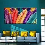 wZUN Color Pluma Pared Arte Lienzo Pintura Carteles nórdicos e Impresiones Cuadros de Pared habitación de niños niñas decoración de Pared de habitación 50x100cm