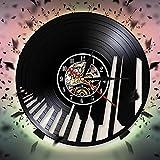 GVC Guitarra Piano Tema Disco de Vinilo Reloj de Pared Diseño Moderno Reloj de Pared Instrumento Musical Notas Musicales para el Amante de la música Regalo