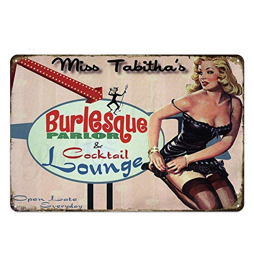 N/B Pin Up Girl Metal Sign Plaque Metal Vintage Metal Poster Sexy Cartel de Chapa Decoración de la Pared para Bar Pub Club Hombre Cueva Retro Signos 20x30cm TH2362