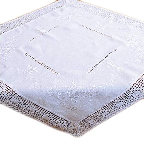 wunderschöne Tischdecke 85x85 cm mit Stil Baumwolloptik Häkelspitze Weiß Bauerndecke Landhaus (Mitteldecke 85x85 cm)