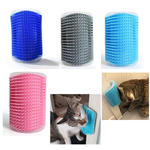 KINGWING Katzenbürste zur Selbstpflege, 4 Stück, mit Katzenminze-Tasche, Eckkratzer, Trimmer, Bürste, Werkzeug, Massagekamm für Kätzchen, Welpen