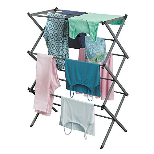mDesign ausziehbarer Turmwäscheständer – Wäscheständer aus Metall mit 3 Ebenen – platzsparender Standtrockner für Wäscheküche, Garten oder Haushaltsraum – dunkelgrau