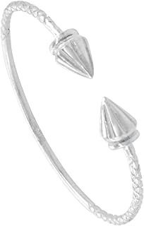 Sterling Silver West Indies Ridged Cone Cuff Bracelet Mens Womens & Kids Sizes 4.5-8.5 inch