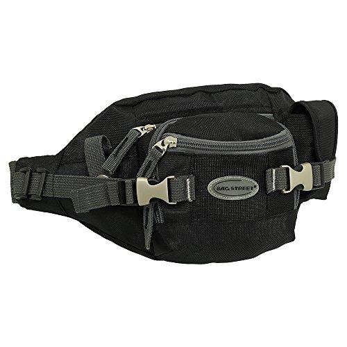 Geschenkset - exklusiver Ledershop24 Schlüsselanhänger + Herren & Damen Bag Gürteltasche Bauchtasche Hüfttasche Angeltasche Wimmerl Tasche ca. 25 cm Farbe schwarz