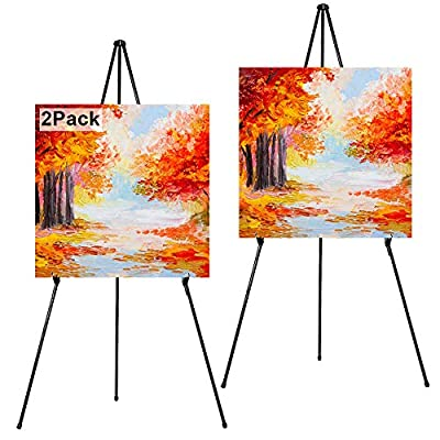 """REALWAY Folding Display Easel Stand, 63"""" Tall Floor Poster Easel, Adjustable Telescoping Art Easel, Painting Easel Stand, Easy Assembly"""